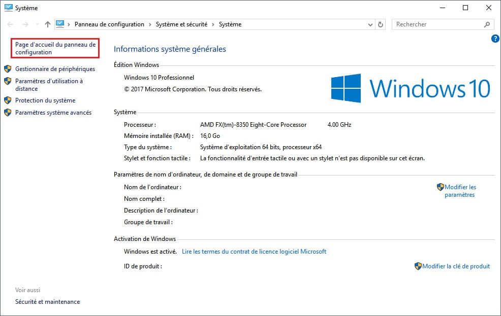 Raccourci clavier panneau de configuration windows 10