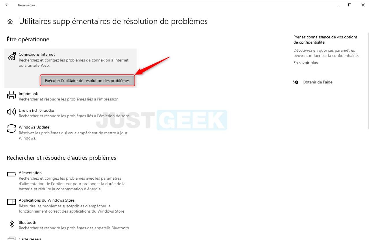 Utilitaires de résolution de problèmes dans Windows 10