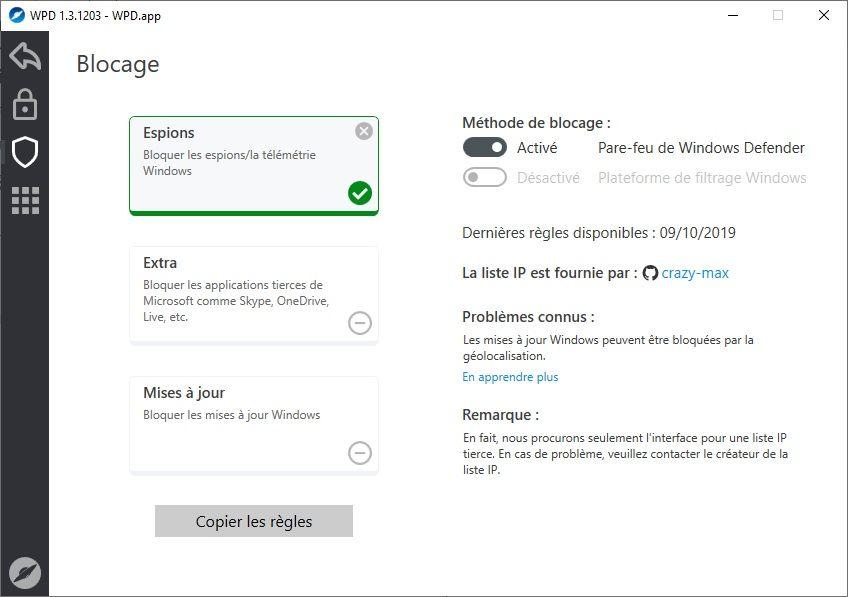 WPD : Bloquer les espions/la télémétrie Windows