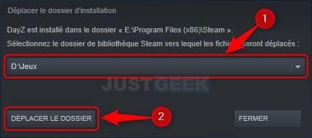 Déplacer l'emplacement d'un jeu Steam