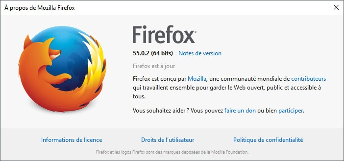 Version 55.0.2 de Firefox
