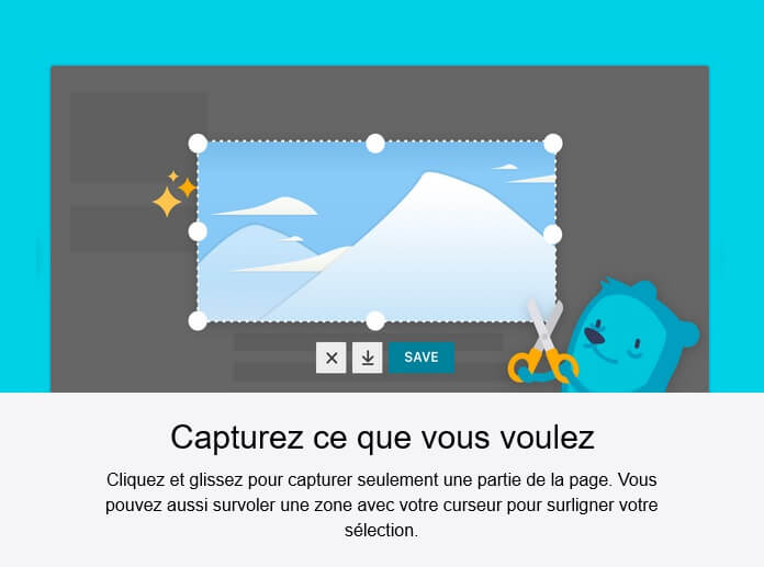Capture d'écran de l'extension Firefox Screenshots