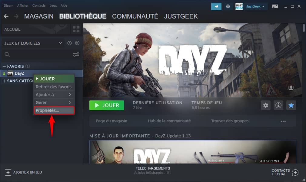 Changer le répertoire d'un jeu Steam