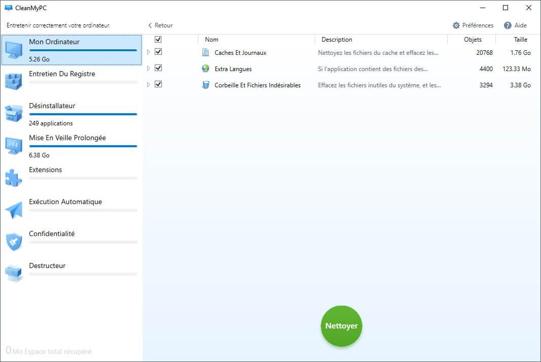 Capture d'écran du logiciel CleanMyPC