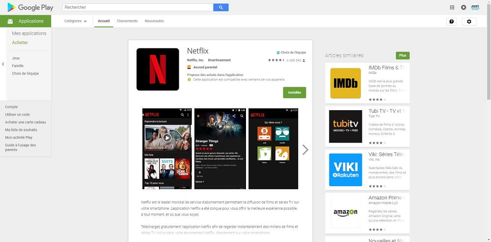 Capture d'écran de l'application Netflix sur le Play Store
