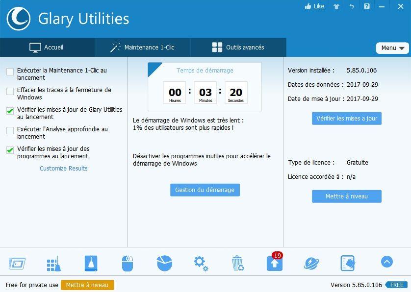 Accueil Glary Utilities