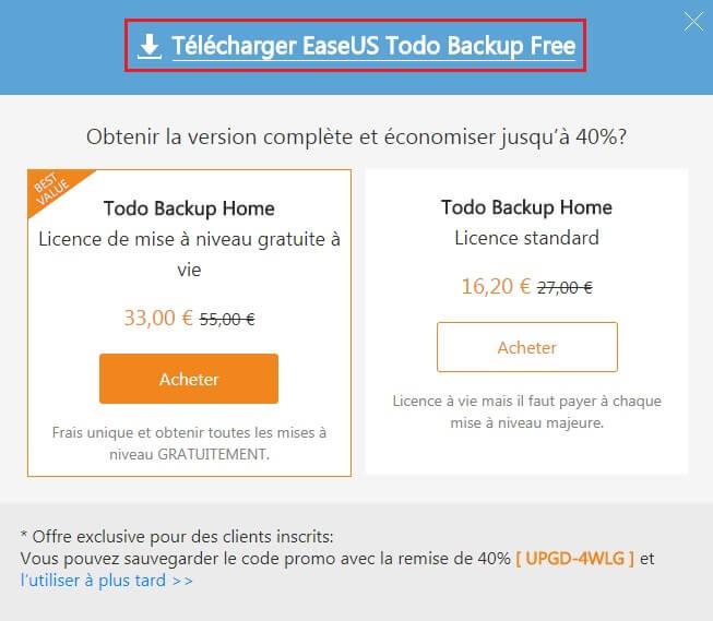 Fenêtre pour télécharger EaseUS Todo Backup Free