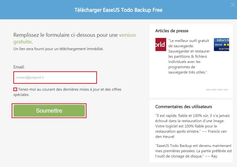 Procédure de téléchargement du logiciel EaseUS Todo Backup Free
