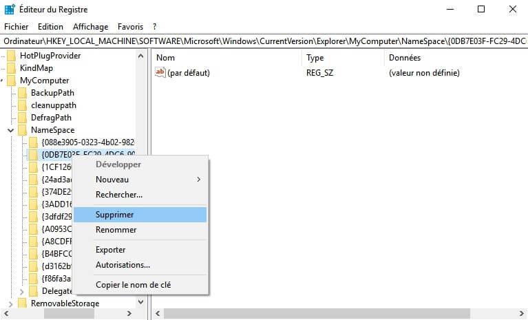 Supprimer le dossier Objets 3D de Windows 10