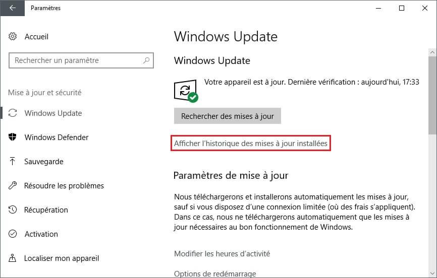 Afficher historique des mises à jour Windows 10