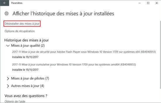 Désinstaller une mise à jour de Windows 10