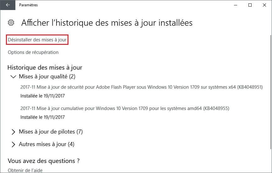 Désinstaller une mise à jour Windows 10