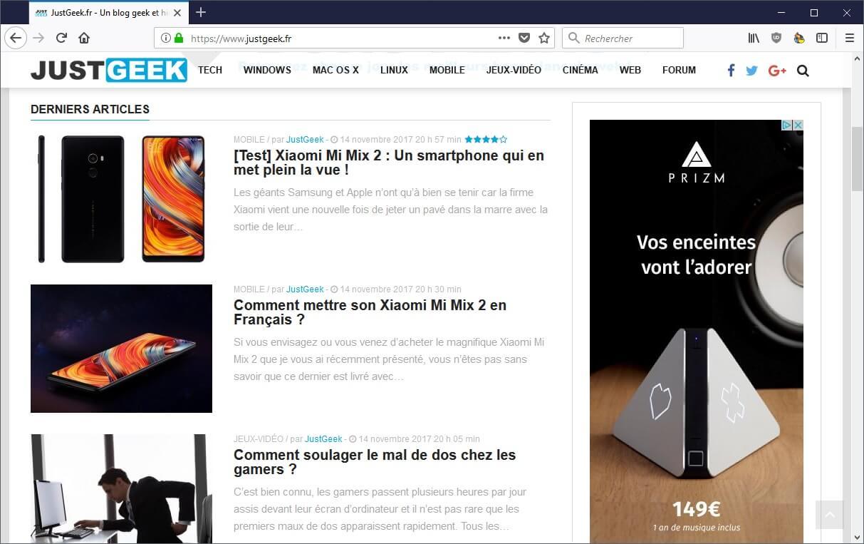 Nouvelle interface Firefox 57 Quantum