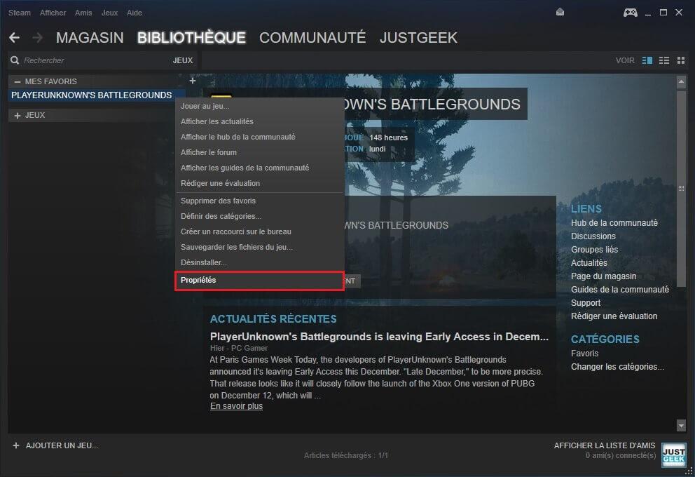 Propriétés d'un jeu Steam