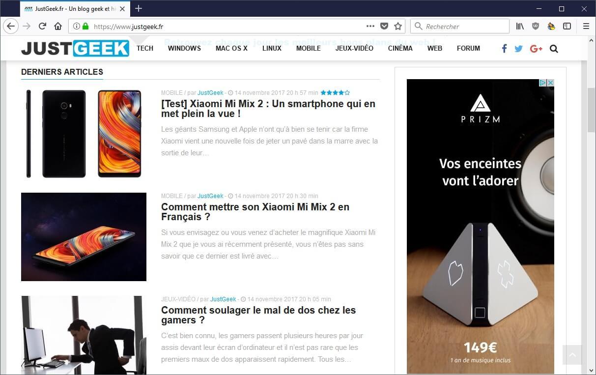 Supprimer espaces vides Firefox 57