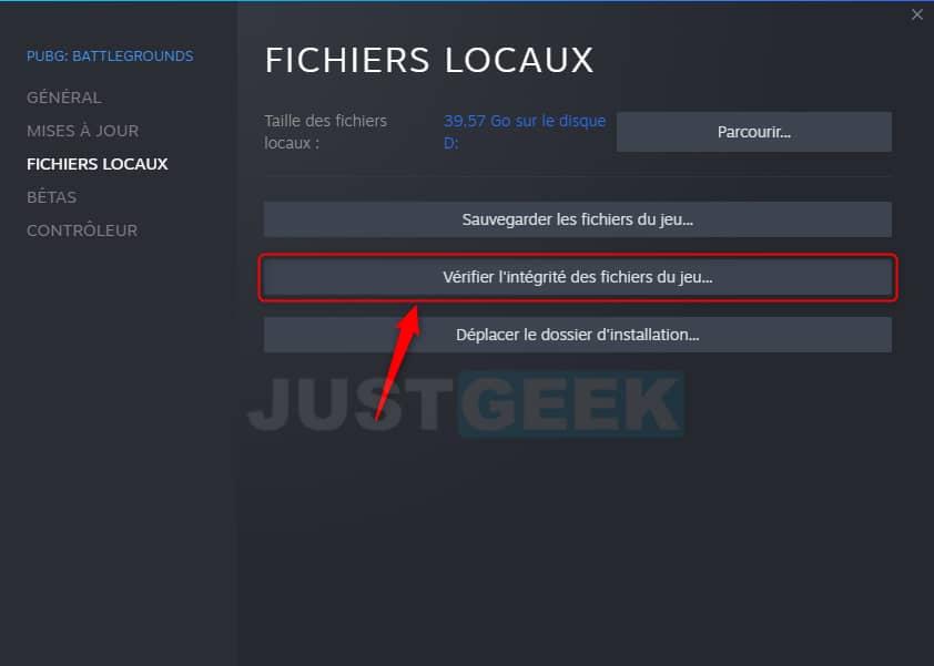 Vérifier l'intégralité des fichiers du jeu Steam