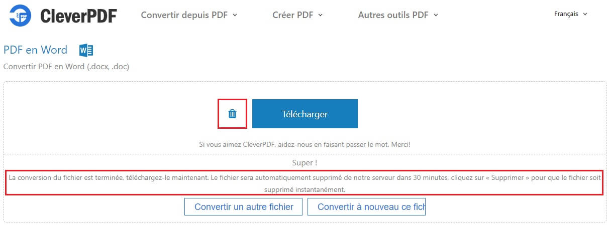Exemple de conversion avec le site CleverPDF