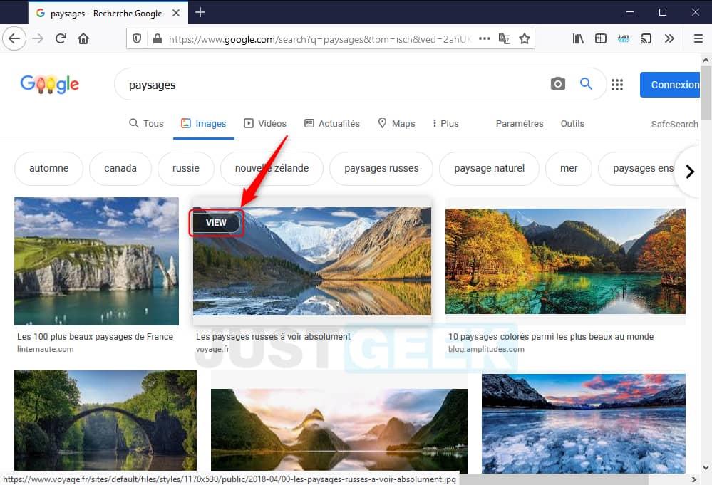 """Afficher un bouton """"View"""" dans Google Images"""