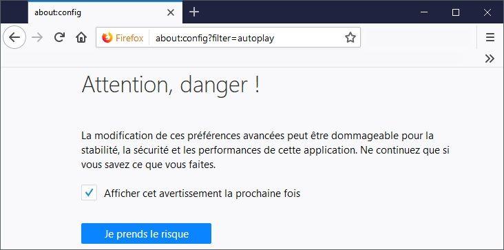 Étape 1 : Désactiver la lecture automatique des vidéos dans Firefox