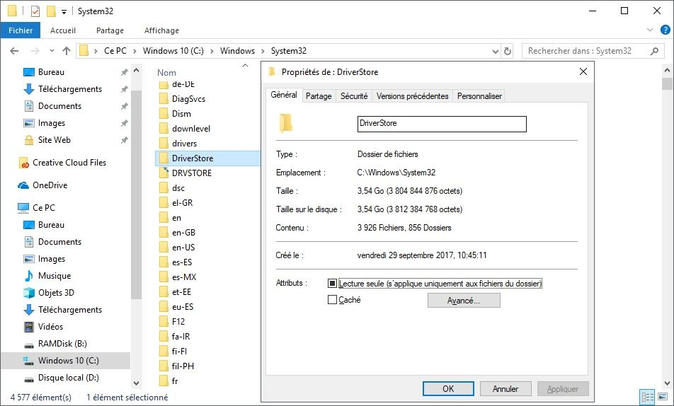 Dossier DriverStore de Windows