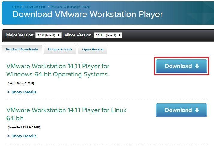 Page de téléchargement VMware Workstation Player Free