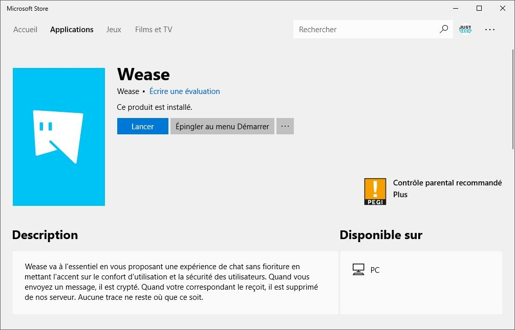 Application Wease Microsoft Store