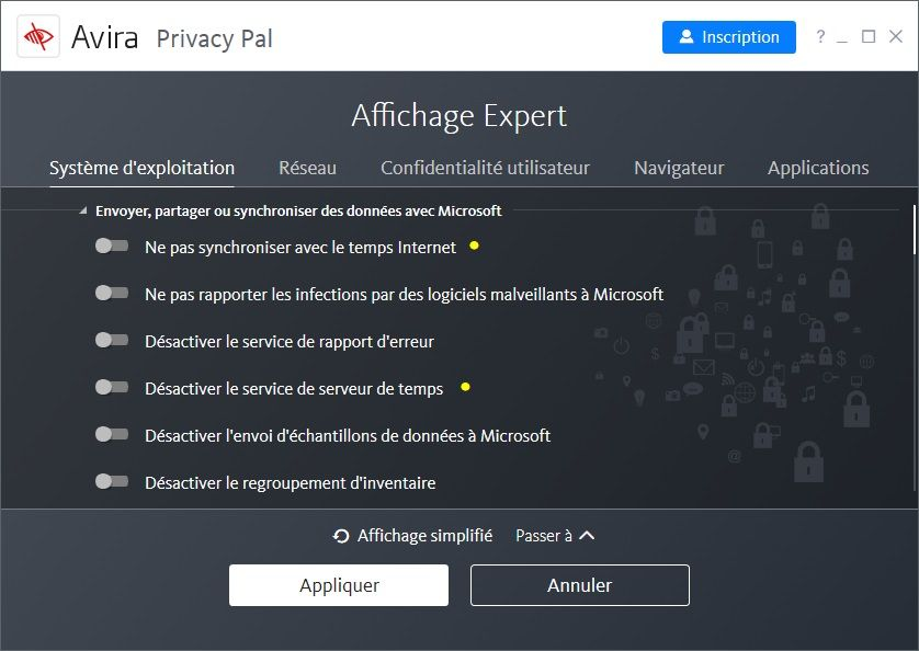 Avira Privacy Pal : les options de confidentialité