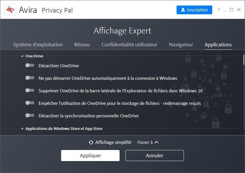 Avira Privacy Pal : Affichage Expert