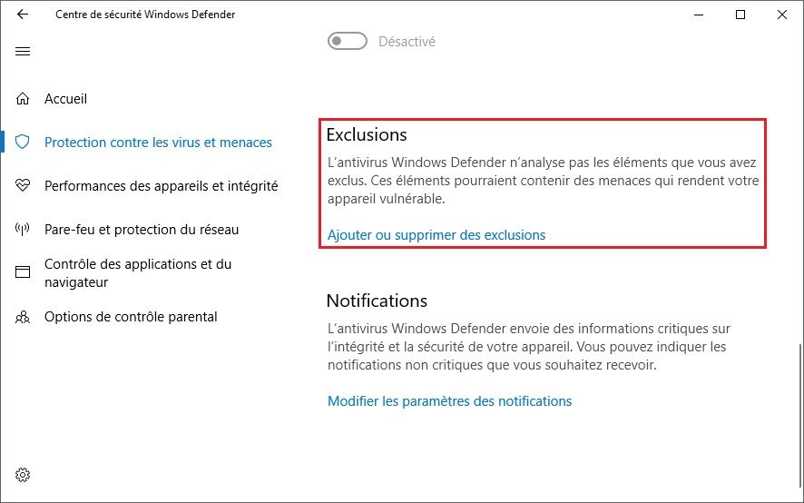 Exclusions Windows Defender