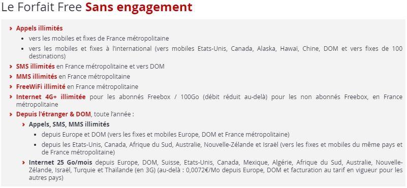 Détails forfait mobile free sans engagement