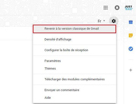 Revenir à la version classique de Gmail