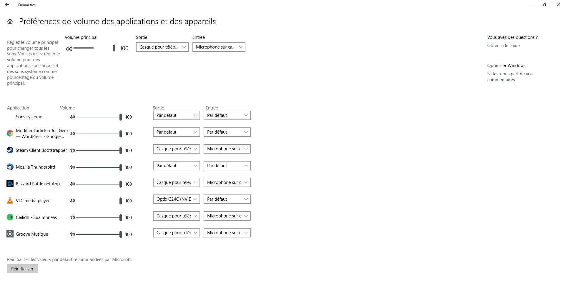 Préférences de volume des applications et des appareils Windows 10
