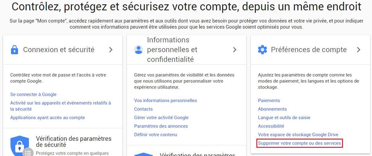 Supprimer un compte Gmail étape 1
