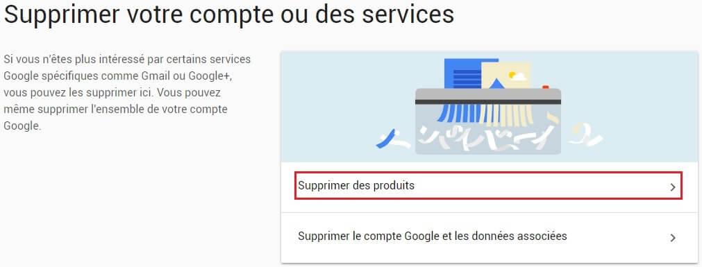 Supprimer un compte Gmail étape 2