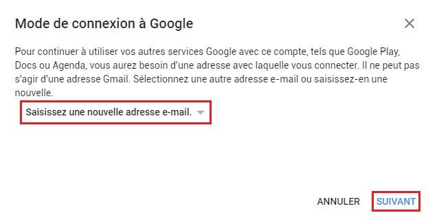 Supprimer un compte Gmail étape 4