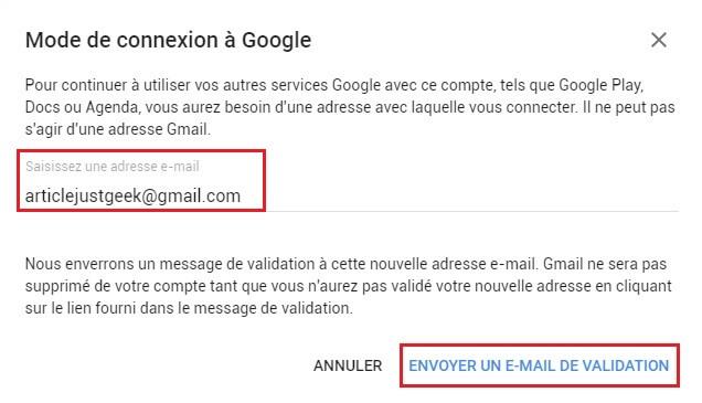 Supprimer un compte Gmail étape 5