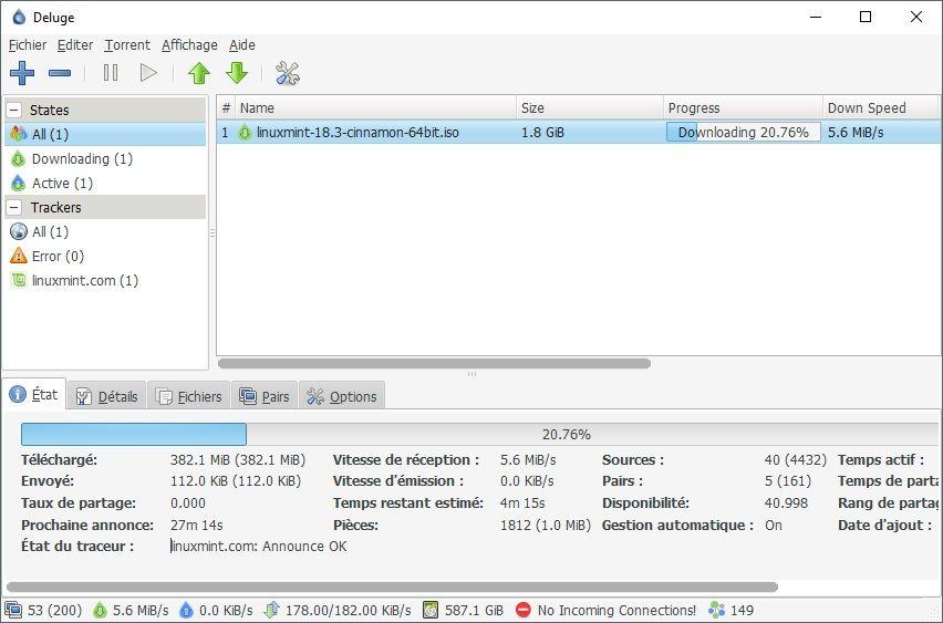 Téléchargement fichier torrent