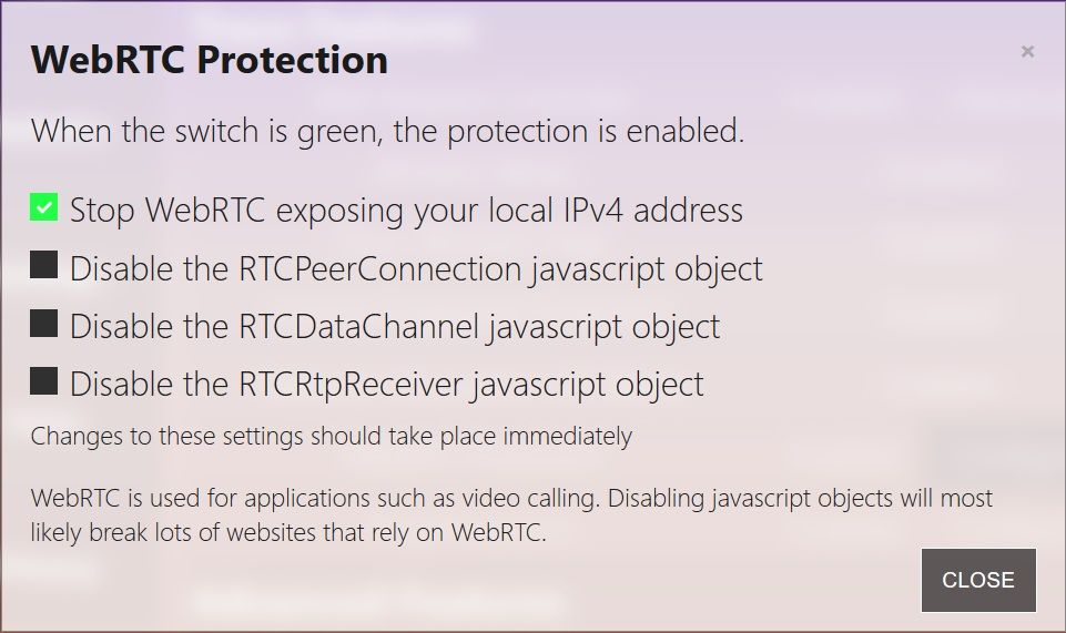 Trace : WebRTC Protection