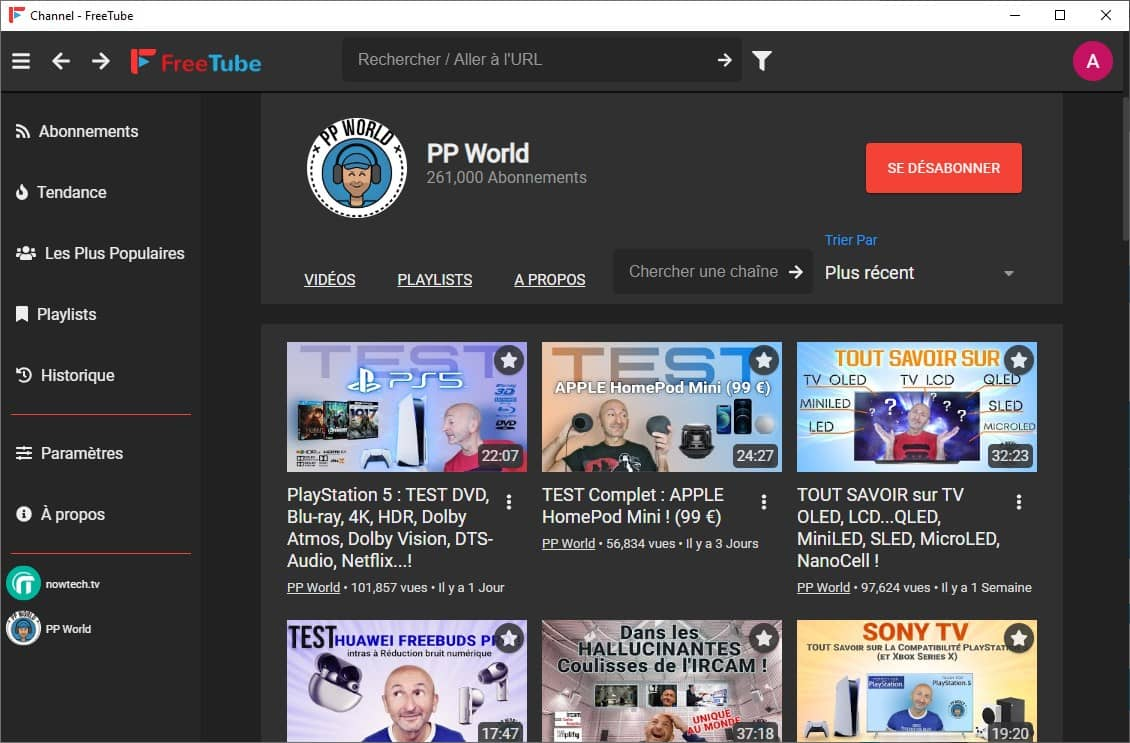 FreeTube, un lecteur YouTube de bureau open source