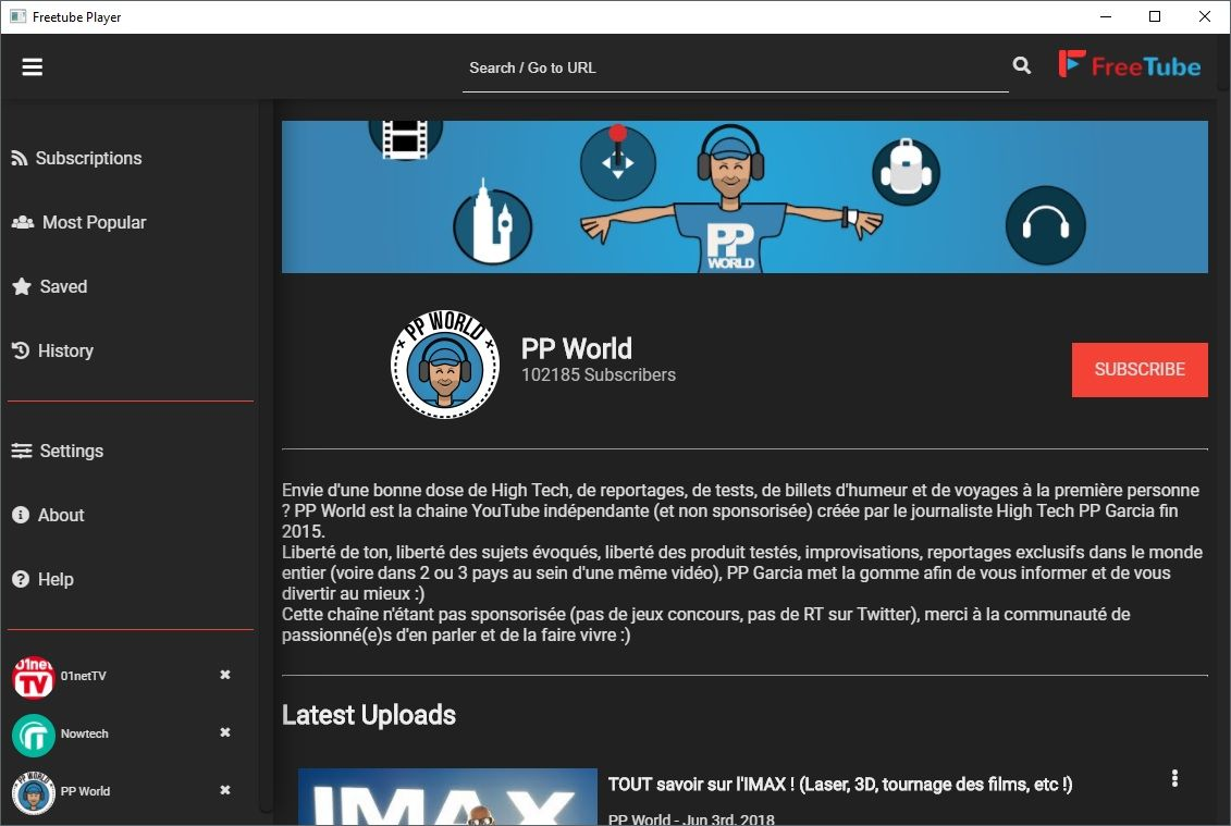 FreeTube Screenshot