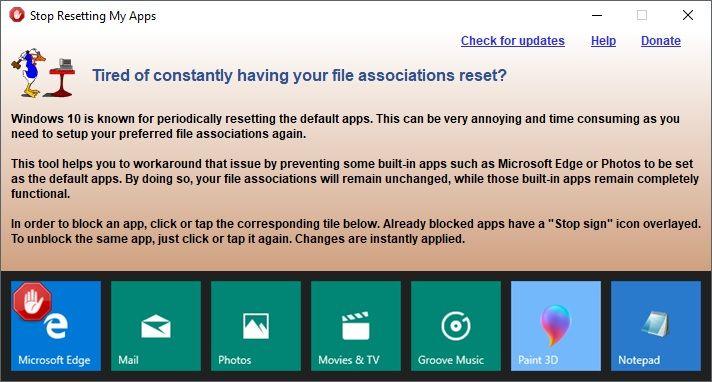 Empêcher Windows 10 de réinitialiser les applications par défaut