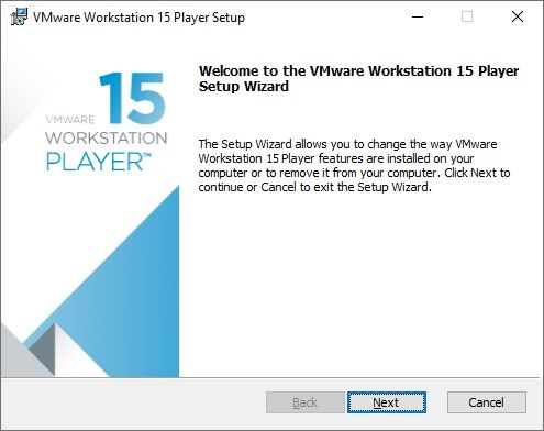 Installation de VMware Workstation 15 Player