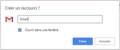 Créer un raccourci vers Gmail
