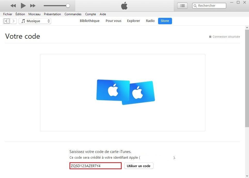 Saisie du code de carte iTunes