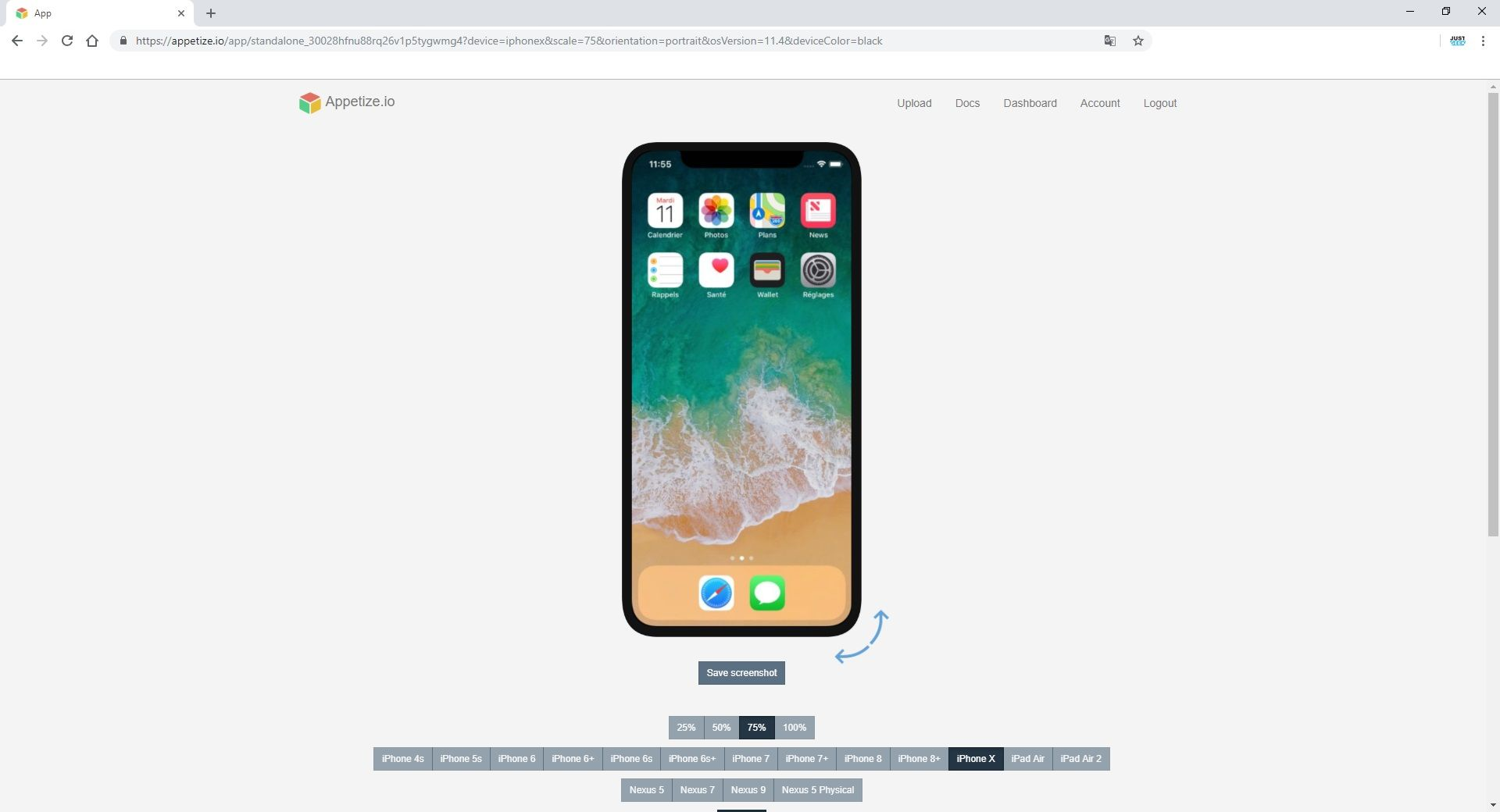 Simulateur iOS 11.4 iPhone X dans navigateur web