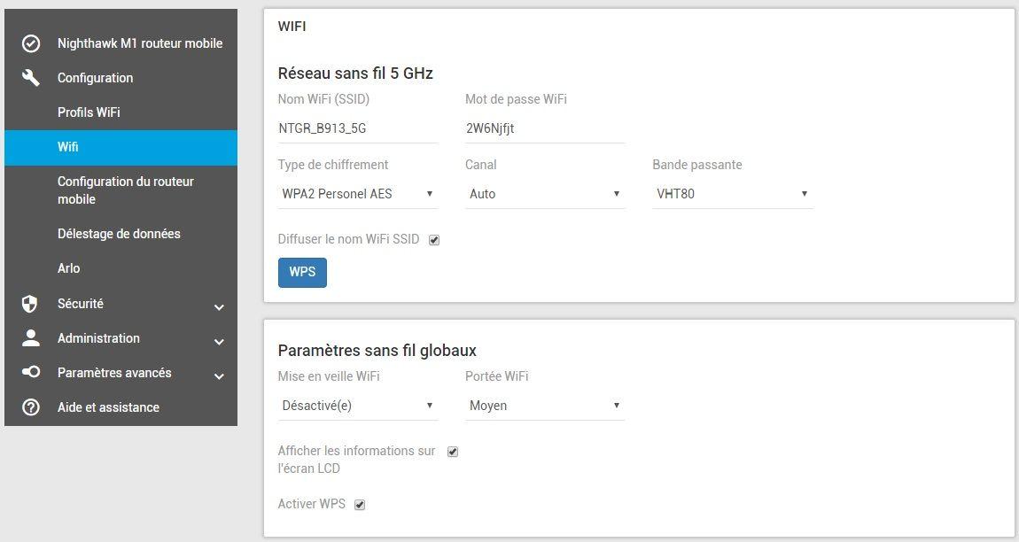 Configuration WiFi du Netgear Nighthawk M1