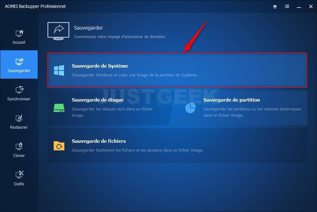 Sauvegarder Windows 10 avec AOMEI Backupper Professionnel
