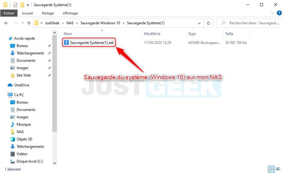 Fichier de sauvegarde du système (Windows 10)