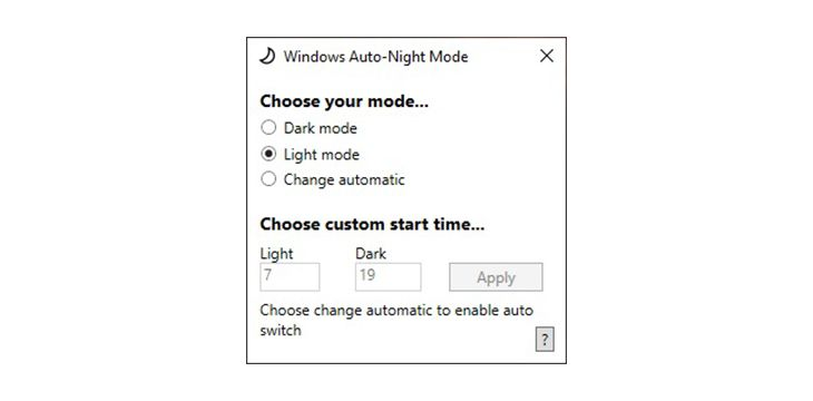 Windows 10 Auto-Night Mode