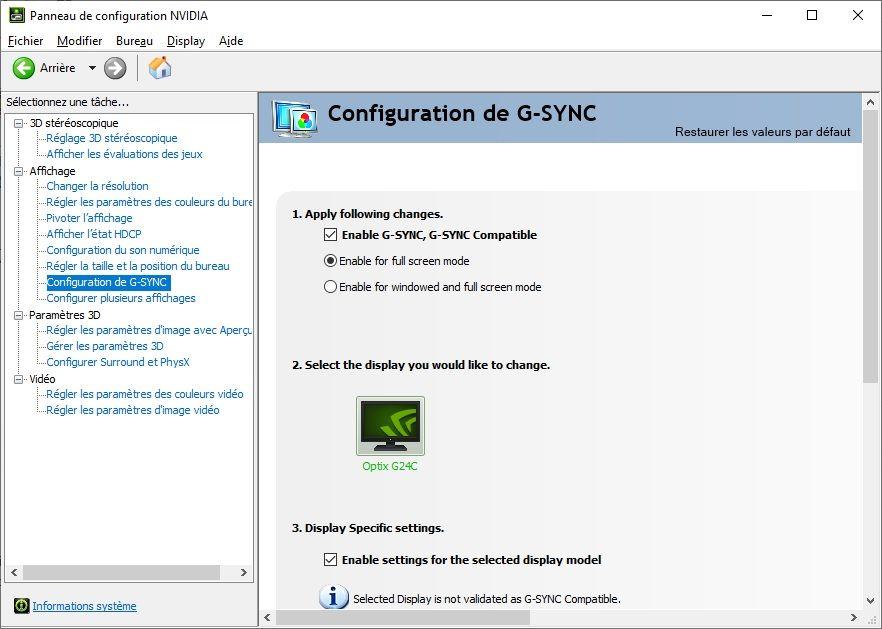 Configuration G-SYNC Panneau de configuration NVIDIA